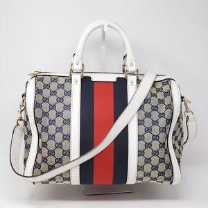 Auth Gucci Vintage Canvas Boston Crossbody Bag
